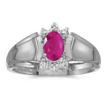 Certified 14k White Gold Oval Ruby And Diamond Ring #50637v3