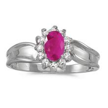 Certified 10k White Gold Oval Ruby And Diamond Ring #51331v3