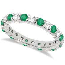 Eternity Diamond and Emerald Ring Band 14k White Gold (2.35ct) #20844v3