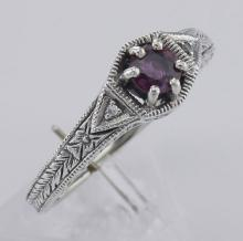 Art Deco Style Ruby Filigree Ring w/ 2 Diamonds - Sterling Silver #98470v2