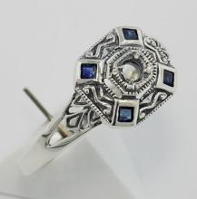 Art Deco Style Semi Mount Sapphire Filigree Ring - Sterling Silver #98350v2