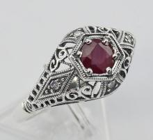 Ruby Filigree Ring Art Deco Style w/ 4 Diamonds - Sterling Silver #98403v2