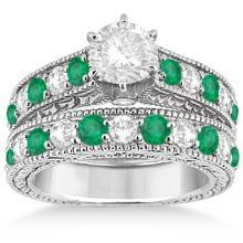Antique Diamond and Emerald Bridal Ring Set 18k White Gold (2.51ct) #20859v3