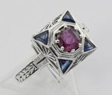 Art Deco Ruby Filigree Ring w/ Sapphire - Sterling Silver #98381v2