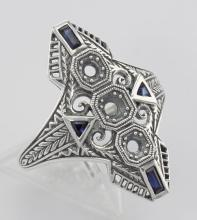 Art Deco Style Filigree Semi Mount Ring w/ Sapphires Sterling Silver #98367v2