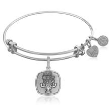 Expandable Bangle in White Tone Brass with Don't Hog The Nog Symbol #92743v2