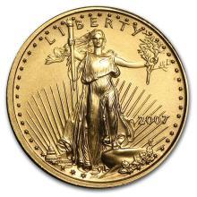 2007 1/10 oz Gold American Eagle BU #22678v3