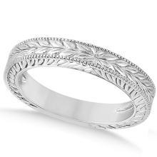 Vintage Carved Filigree Leaf Design Wedding Band in Platinum #21187v3