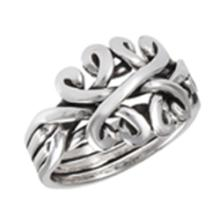 4 Piece Puzzle Ring STERLING SILVER SIZES 5-10 #18197v3