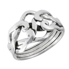 4 Piece Puzzle Ring STERLING SILVER SIZES 5-10 #18194v3