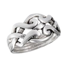 4 Piece Puzzle Ring STERLING SILVER SIZES 5-10 #18195v3
