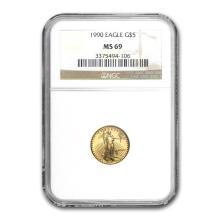 1990 1/10 oz Gold American Eagle MS-69 NGC #22671v3
