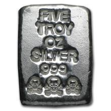 5 oz Silver Bar - Atlantis Mint (Skull & Bones) #21844v3
