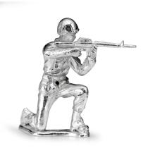Silver Army Figurine - Rifleman Silver Soldier #21826v3