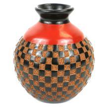 6 inch Tall Vase - Checkers Relief - Esperanza en Accion #87926v2