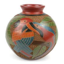 6 inch Tall Vase - Two Birds - Esperanza en Accion #87921v2