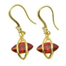 18K Gold Plate Art Deco Dangle Earrings ~ Ruby CZ Stone #19225v3