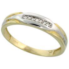 10k Yellow Gold Mens Diamond Wedding Band Ring 0.03 cttw Brilliant Cut, 1/4 inch 6mm wide #15446v3