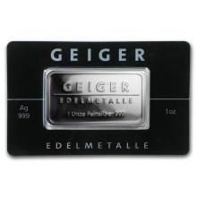 1 oz Silver Bar - Geiger Edelmetalle (Mirror Finish/In Assay) #21825v3
