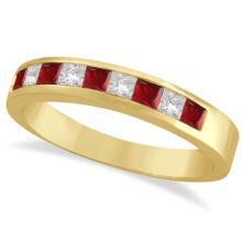 Princess-Cut Channel-Set Diamond and Ruby Ring Band 14k Yellow Gold #21179v3