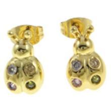 18K Gold Plate Figural Lady Bug Beetle Stud Earrings #19226v3