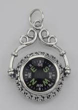 Victorian Style Compass Pendant with Scroll Frame in Fine Sterling Silver #98322v2