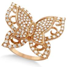 Contemporary Butterfly Shaped Diamond Ring 14k Rose Gold (1.00ct) #21176v3