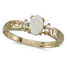 Opal and Diamond Filigree Ring Antique Style 14k Yellow Gold #53338v3