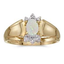 Certified 14k Yellow Gold Oval Opal And Diamond Ring #50702v3