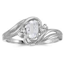 White Topaz and Diamond Swirl Ring in 14k White Gold (0.61ctw) #53712v3