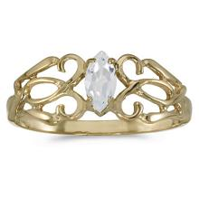 Marquise-Cut White Topaz Filigree Ring Antique Style 14k Yellow Gold #53707v3