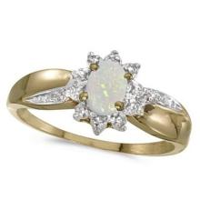 Opal and Diamond Right Hand Flower Shaped Ring 14k Yellow Gold (0.55ct) #53363v3