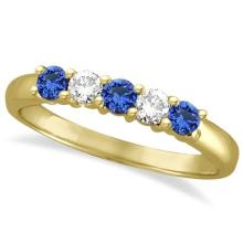 Five Stone Blue Sapphire and Diamond Ring 14k Yellow Gold (0.50ctw) #53785v3