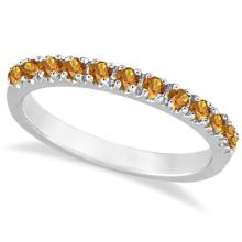 Citrine Stackable Band Anniversary Ring Guard 14k White Gold (0.38ct) #53800v3