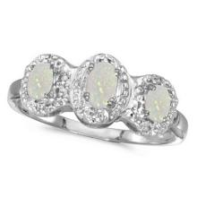 0.65tcw Oval Opal and Diamond Three Stone Ring 14k White Gold #53341v3