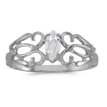 Certified 10k White Gold Marquise White Topaz Filagree Ring #50708v3