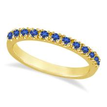Blue Sapphire Stackable Ring Anniversary Band in 14k Yellow Gold #53081v3