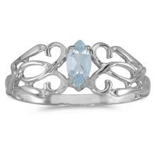Marquise Aquamarine Filigree Ring Antique Style 14k White Gold #52990v3