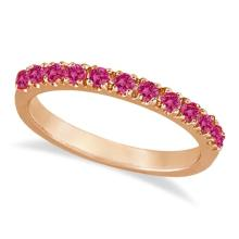 Pink Sapphire Stackable Band Ring Guard in 14k Rose Gold (0.38ct) #53769v3