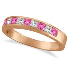 Princess Channel-Set Diamond and Pink Sapphire Ring Band 14k Rose Gold #53646v3