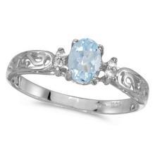 Aquamarine and Diamond Filagree Ring Antique Style 14k White Gold #52994v3