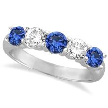 Five Stone Blue Sapphire and Diamond Ring 14k White Gold (1.50ctw) #53788v3