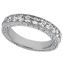 Antique Style Pave Set Wedding Ring Anniversary Band Platinum (1.00ct) #53483v3