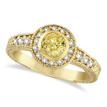 Yellow Canary and White Diamond Antique Style Ring 14K Y Gold (0.80ct) #53771v3