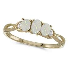Oval Opal and Diamond Three Stone Ring 14k Yellow Gold (0.65ctw) #53369v3