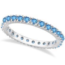 Blue Topaz Eternity Stackable Ring Band 14K White Gold (0.75ct) #53792v3