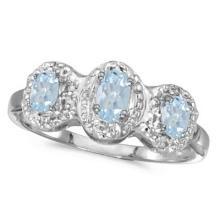 0.50tcw Oval Aquamarine and Diamond Three Stone Ring 14k White Gold #52998v3