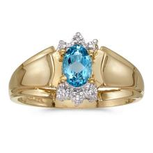 Certified 14k Yellow Gold Oval Blue Topaz And Diamond Ring #50674v3