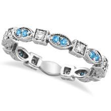 Aquamarine and Diamond Eternity Anniversary Ring Band 14k White Gold #53808v3