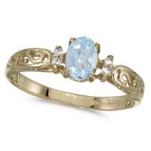 Aquamarine and Diamond Filigree Ring Antique Style 14k White Gold #52995v3